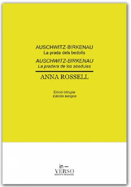 Portada del libro de poemas de Anna Rossell, «Auschwitz-Birkenau. La prada dels bedolls / La pradera de los abedules»