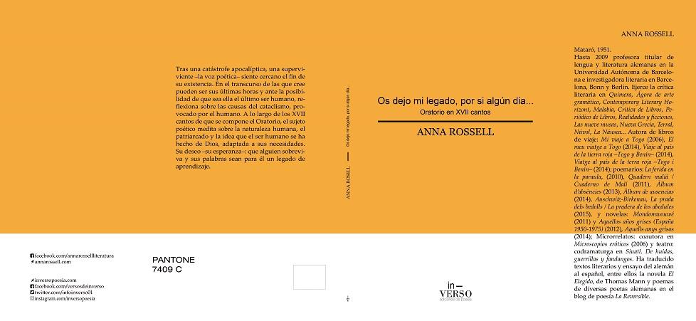 Portada del poemario de Anna Rossell, «Os dejo mi legado, por si algún día (Oratorio en XVII cantos)»