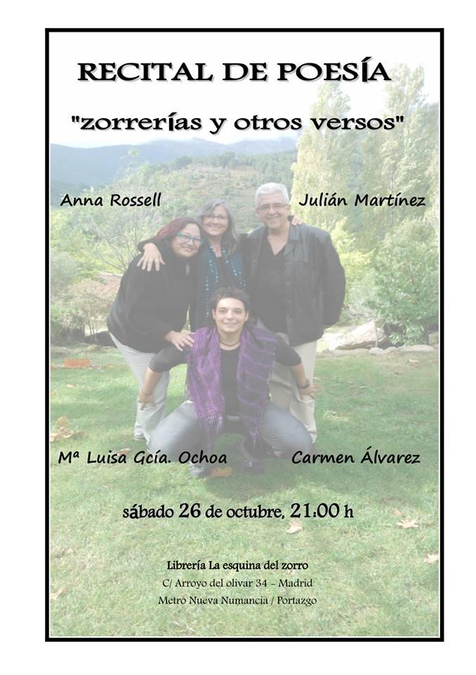 Cartel para el recital de poesía en la librería La Esquina del Zorro, Madrid, 2013