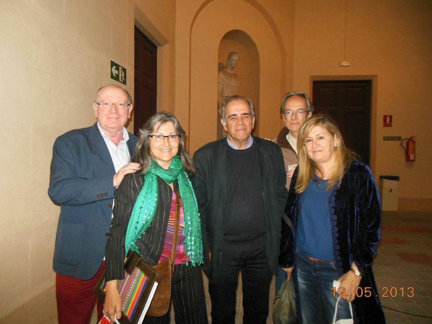De izquierda a derecha: Felipe Sérvulo, Anna Rossell, Pere Maragall, Albert Tugues y Goya Gutiérrez. Primer Aniversairo Ediciones InVerso, Barcelona, 2013
