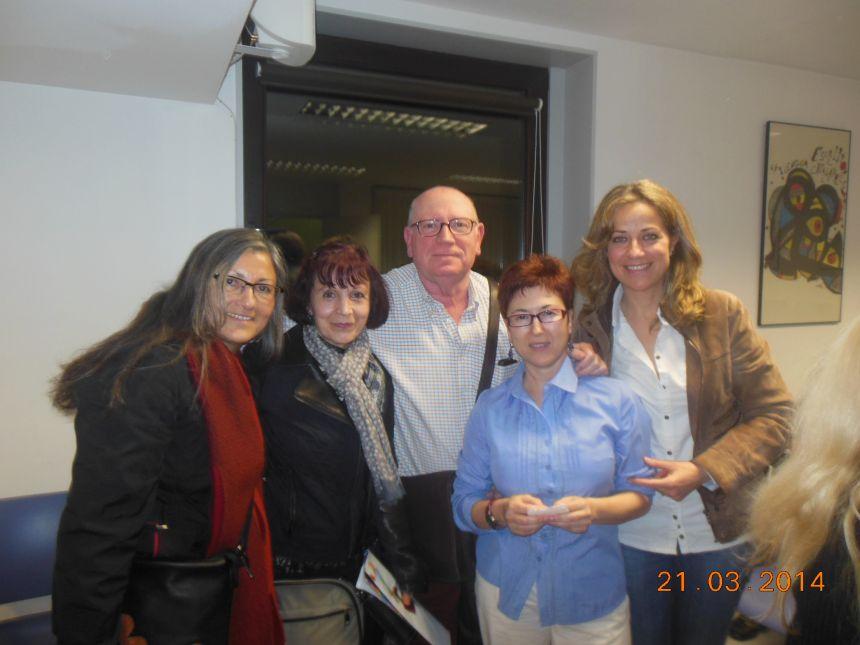 De izquierda a derecha: Anna Rossell, Mª Jesús Vega, Cise Cortés, Felipe Sérvulo y Luisa Gómez Borrell. Tertulia del Laberinto de Ariadna, Ateneo Barcelonés, 2014