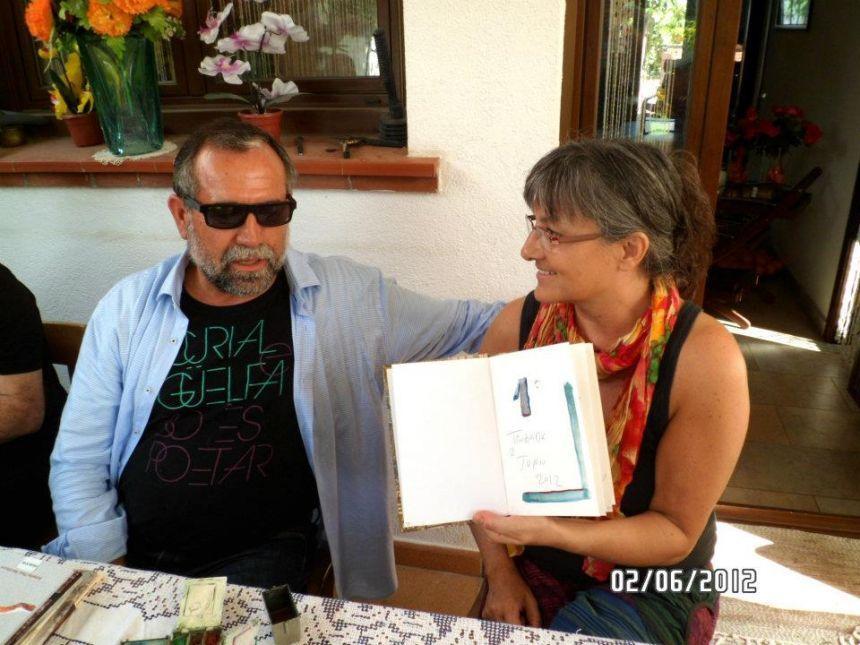 Anna Rossell con el pintor Antonio Hervás. I Encuentro artístico-poético. El Masnou 2012