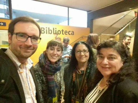 Anna Rossell (segunda por la derecha) con otros miembros del jurado del Festival Mutis de Teatro, Barcelona 2017